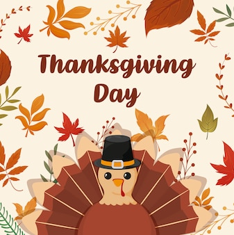 幸せな感謝祭と漫画トルコのカード