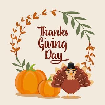 Открытка с днем благодарения и мультяшной индейкой