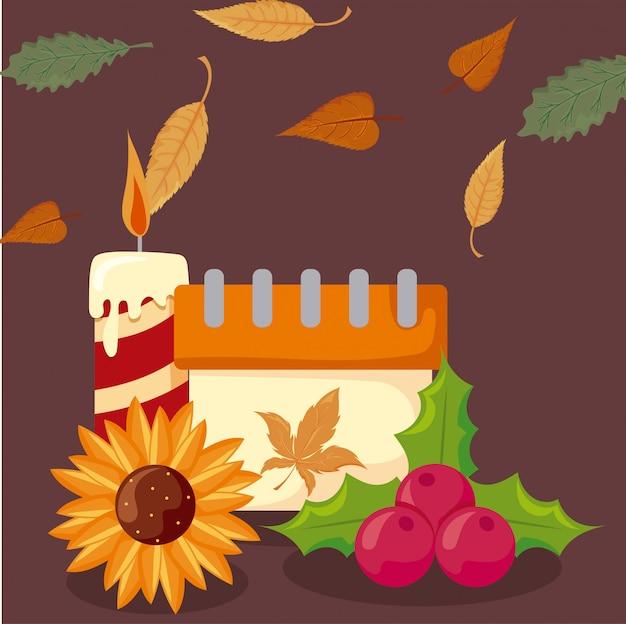 秋の紅葉とアイコンの感謝祭のセット