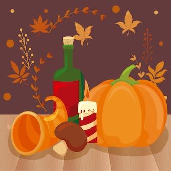 Набор иконок благодарения с осенними листьями
