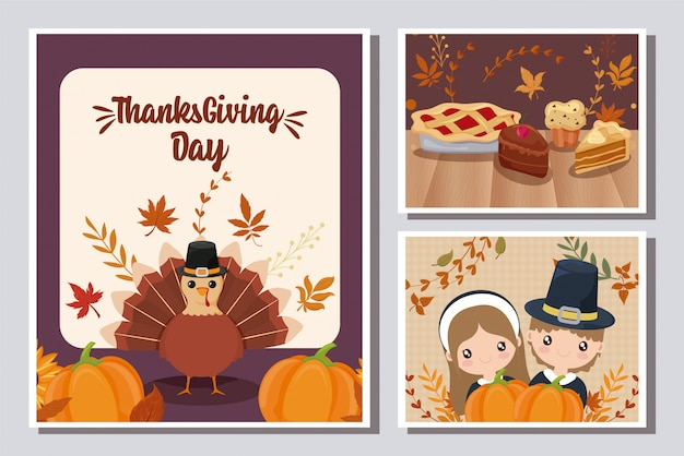 幸せな感謝祭のカードのセット