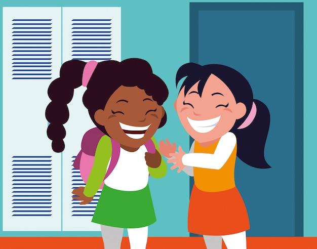 学校の廊下でロッカーと学生の女の子