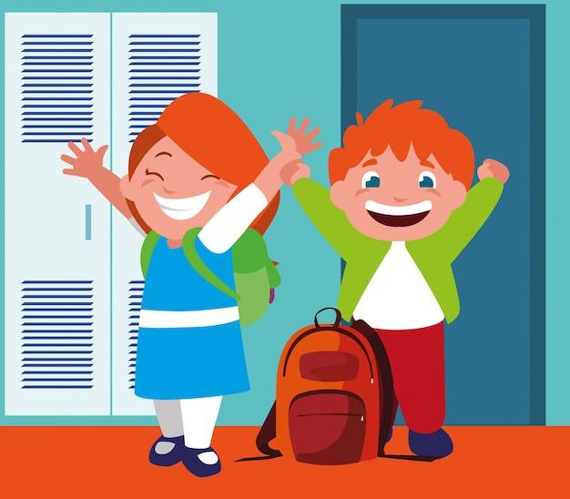 学校の廊下でロッカーと学生のカップル