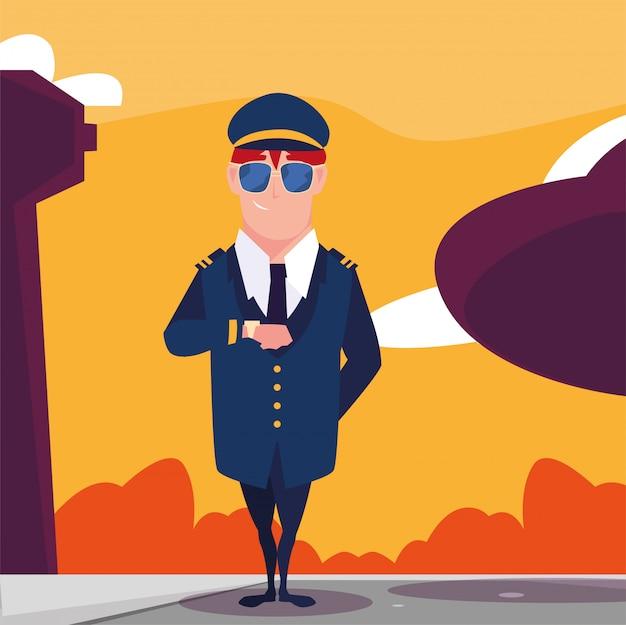Человек пилот самолета перед самолетом в аэропорту