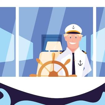 Мужчина-моряк у руля корабля