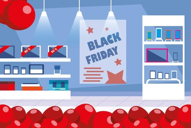 Черная пятница рекламная распродажа покупок баннер с продуктами и скидками