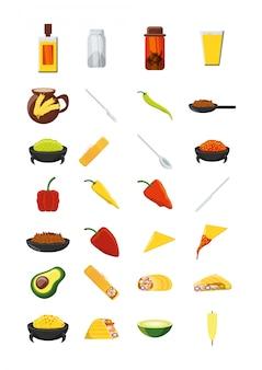 さまざまなメキシコ料理アイコンセットパック