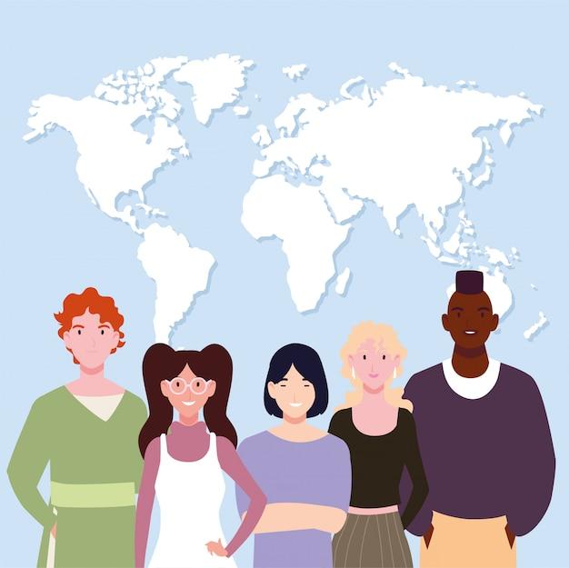 地球地図を持つ人々のグループ