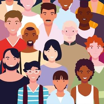 Узор группы людей улыбаются