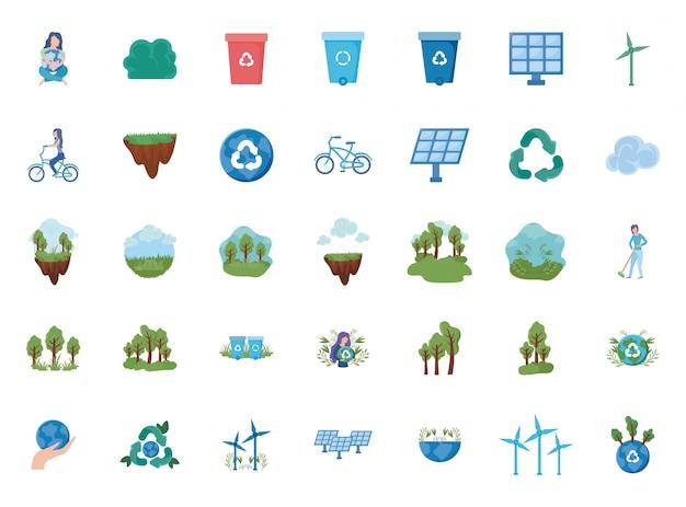 Набор иконок возобновляемых источников энергии на белом