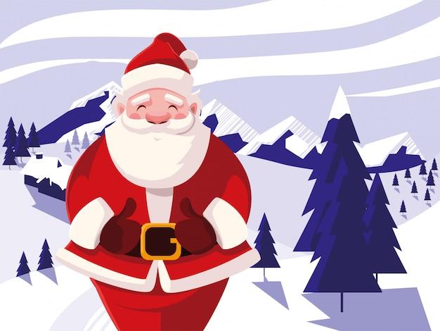 Санта-клаус на зимний пейзаж