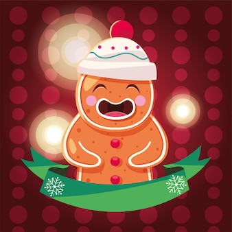 Рождественская открытка с пряничным человечком