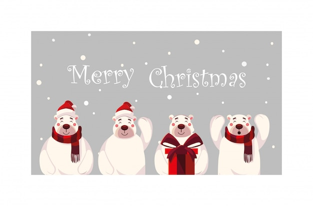 Набор белых медведей с рождеством надписи