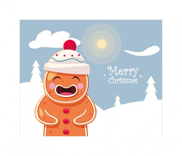 メリークリスマスレタリングと冬の風景のジンジャーブレッド人