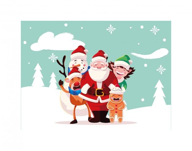 クリスマスのアイコンとクリスマスのカード