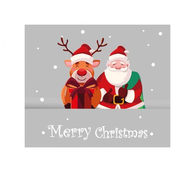 С рождеством христовым дед мороз и олень