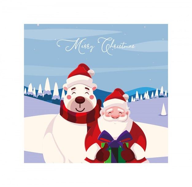 С рождеством христовым дед мороз и медведь
