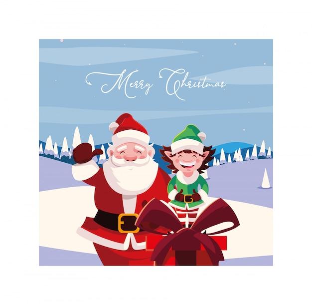 С рождеством христовым дед мороз и эльф