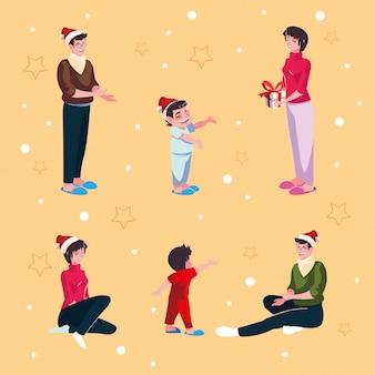 クリスマスの夜に家族のセット