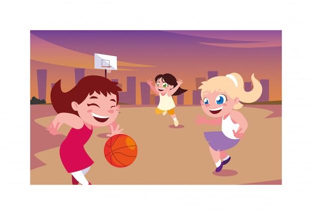 Сцена детей, улыбающихся и играющих в парке