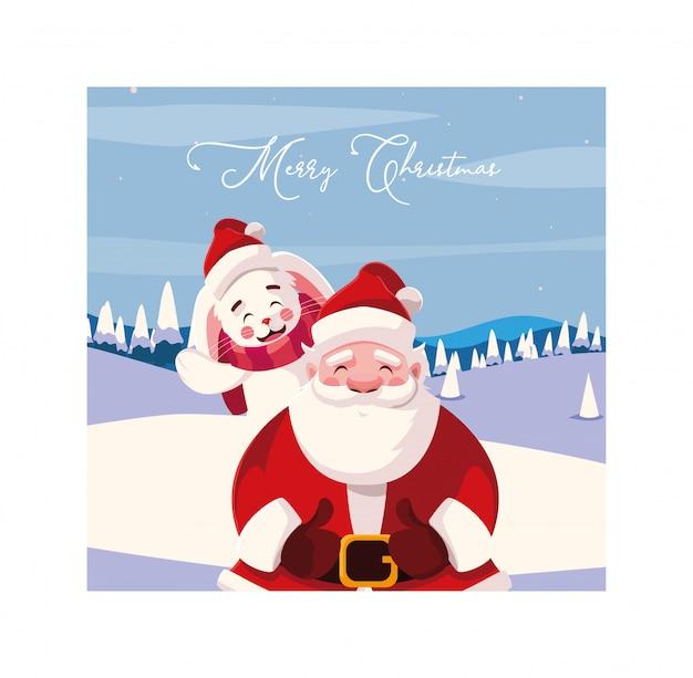 Счастливого рождества дед мороз и кролик