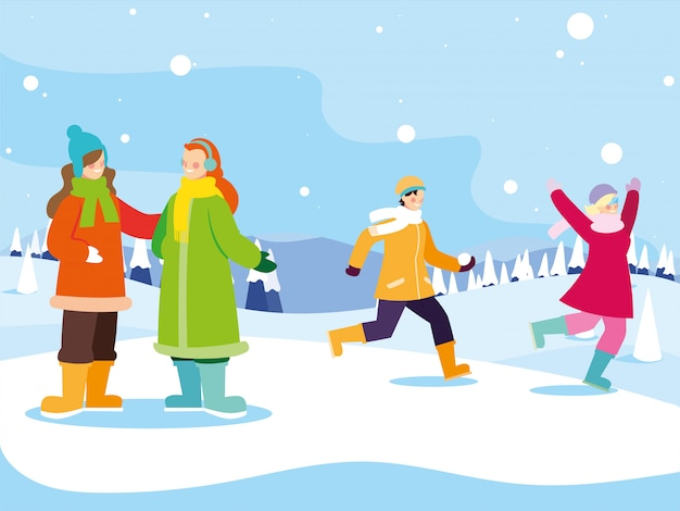 Группа людей с зимней одежды в пейзаж со снегопадом