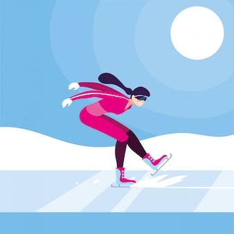 Молодая женщина на коньках, зимний спорт