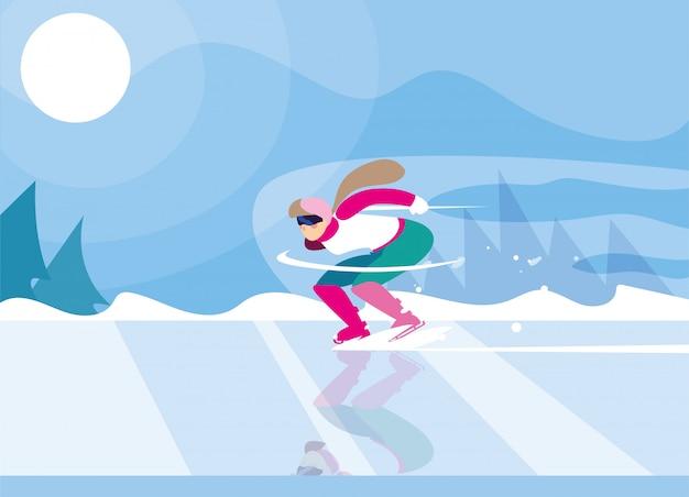 アイススケート場、冬のスポーツでスケートをする女性
