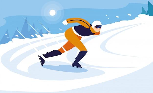 Молодой человек на коньках, зимний спорт
