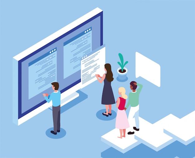 コンピューターの画面の前で働く人々のグループ