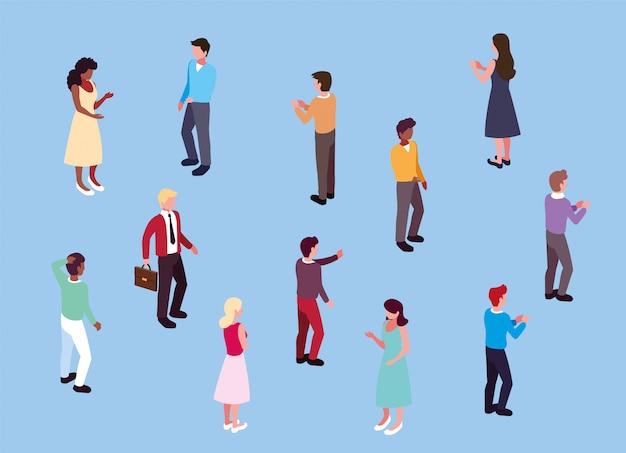 さまざまなポーズで立っている人々ビジネスのグループ