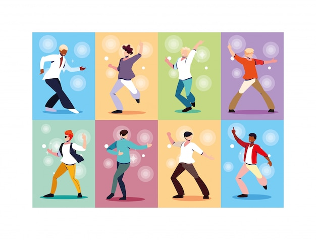 Набор мужчин, танцующих в ночном клубе, вечеринки, музыки и ночной жизни