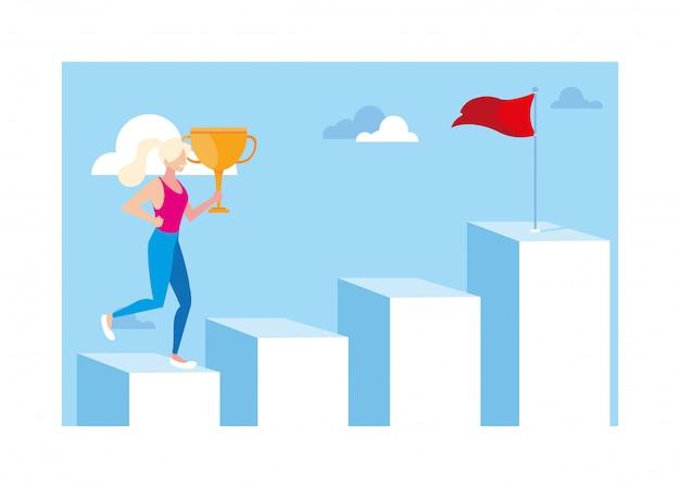 Женщина бежит вверх по лестнице на вершину горы, путь к успеху