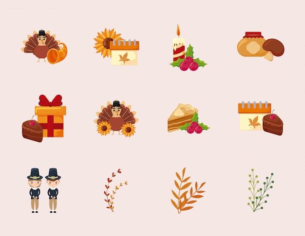 幸せな感謝祭のアイコンセットベクトルデザイン
