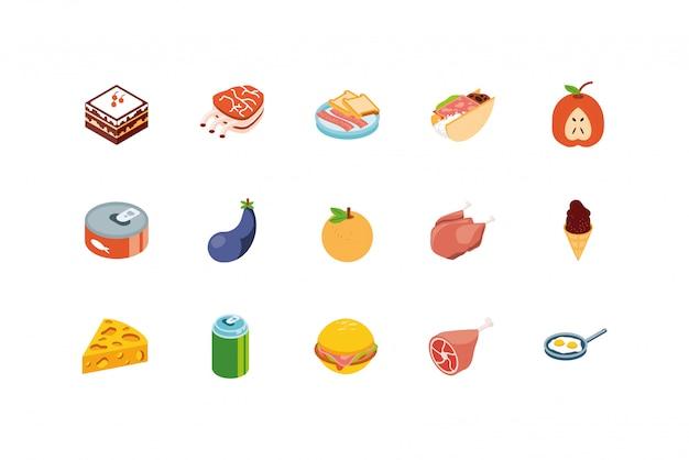 Изолированный дизайн значка еды установленный