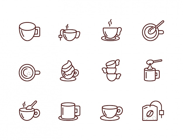 孤立したコーヒーのアイコンセットベクターデザイン