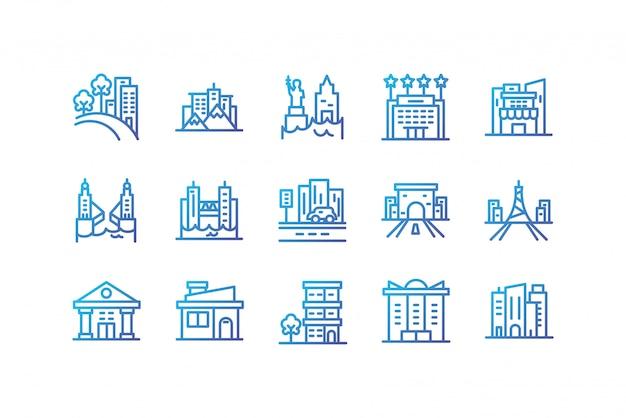 孤立した都市の建物のアイコンセットベクターデザイン