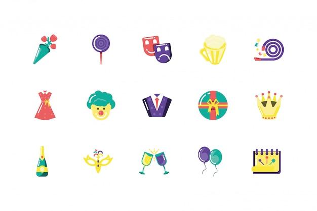 Изолированная вечеринка значок набор векторный дизайн