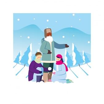 降雪のある風景の中の冬服を持つ人々のグループ