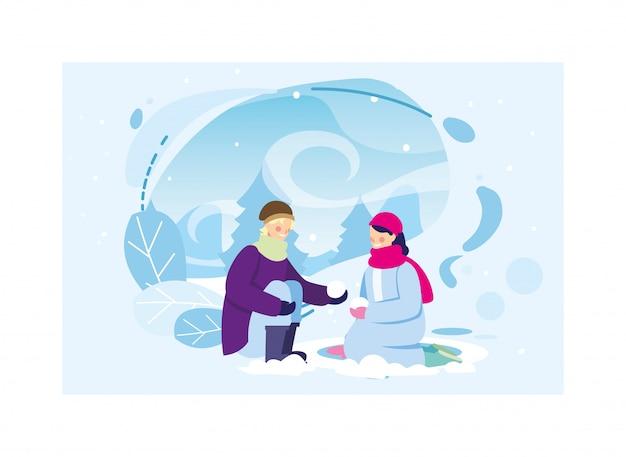 Пара людей с зимней одежды в пейзаж со снегопадом