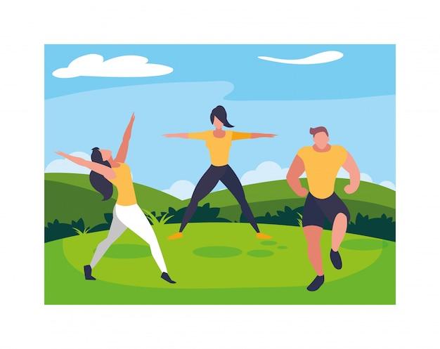風景と運動する人々のグループ