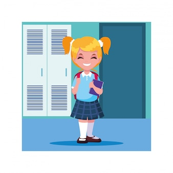 ロッカー、学校に戻ると学校の廊下で学生の女の子