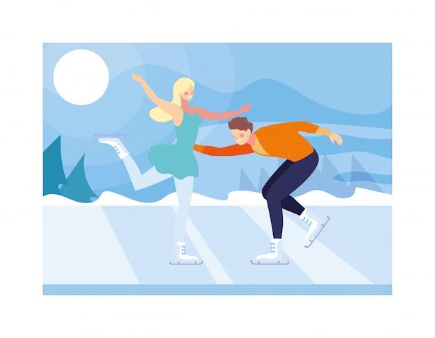 フィギュアスケート、アイススポーツの練習のカップル