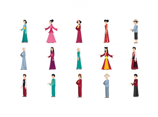 伝統的な布セットで孤立した中国人
