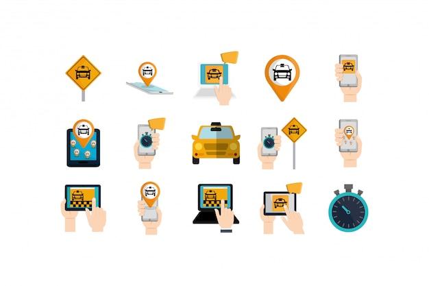 Набор иконок изолированных такси