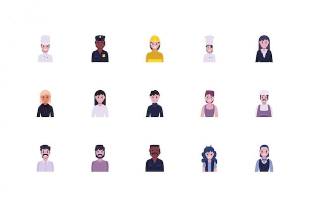 多様性の人々と労働者のセット