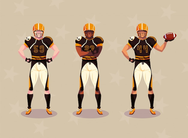 ユニフォームを持つスポーツマン、男性チームプレーヤーアメリカンフットボール