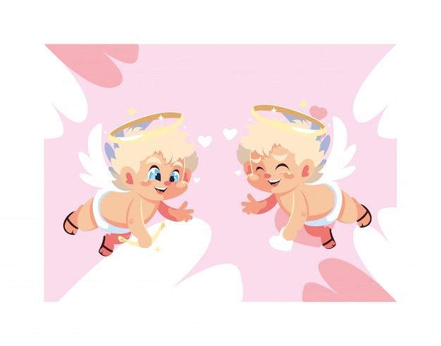 かわいいキューピッドの天使、バレンタインデー