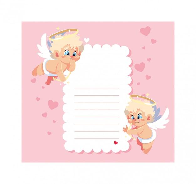 Открытка на день святого валентина с ангелами-купидонами, лист для записи