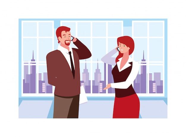 仕事場でのビジネスの人々のカップル、オフィスでフレンドリーなチームでの調整された仕事